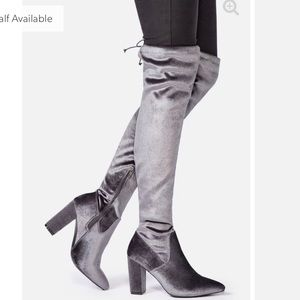 Gray Suede Heeled Boots - Over the Knee